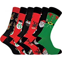 FESTIVE FEET - Mens 6 Pack Cotton Rich Funky Novelty Christmas Socks