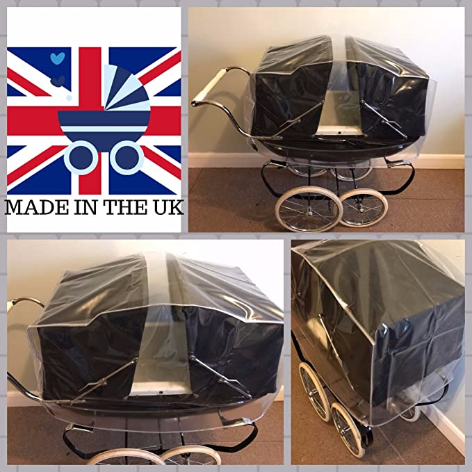 CHATSWORTH STEELBODIED RAINCOVER TO FIT SILVERCROSS OBERON TOY//DOLLS PRAM ALSO COMPATIBLE WITH DAISY DOLLYS PRAM COTTINGLEY DOLLS PRAM