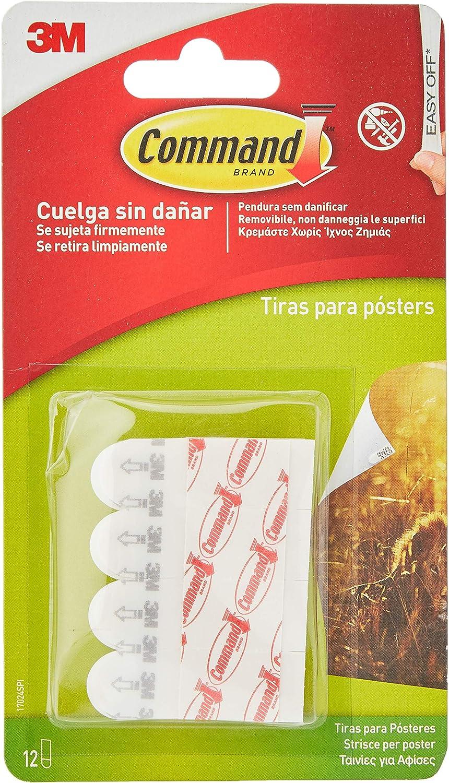 Command 17024 - Pack de 12 tiras pequeñas para posters, color blanco
