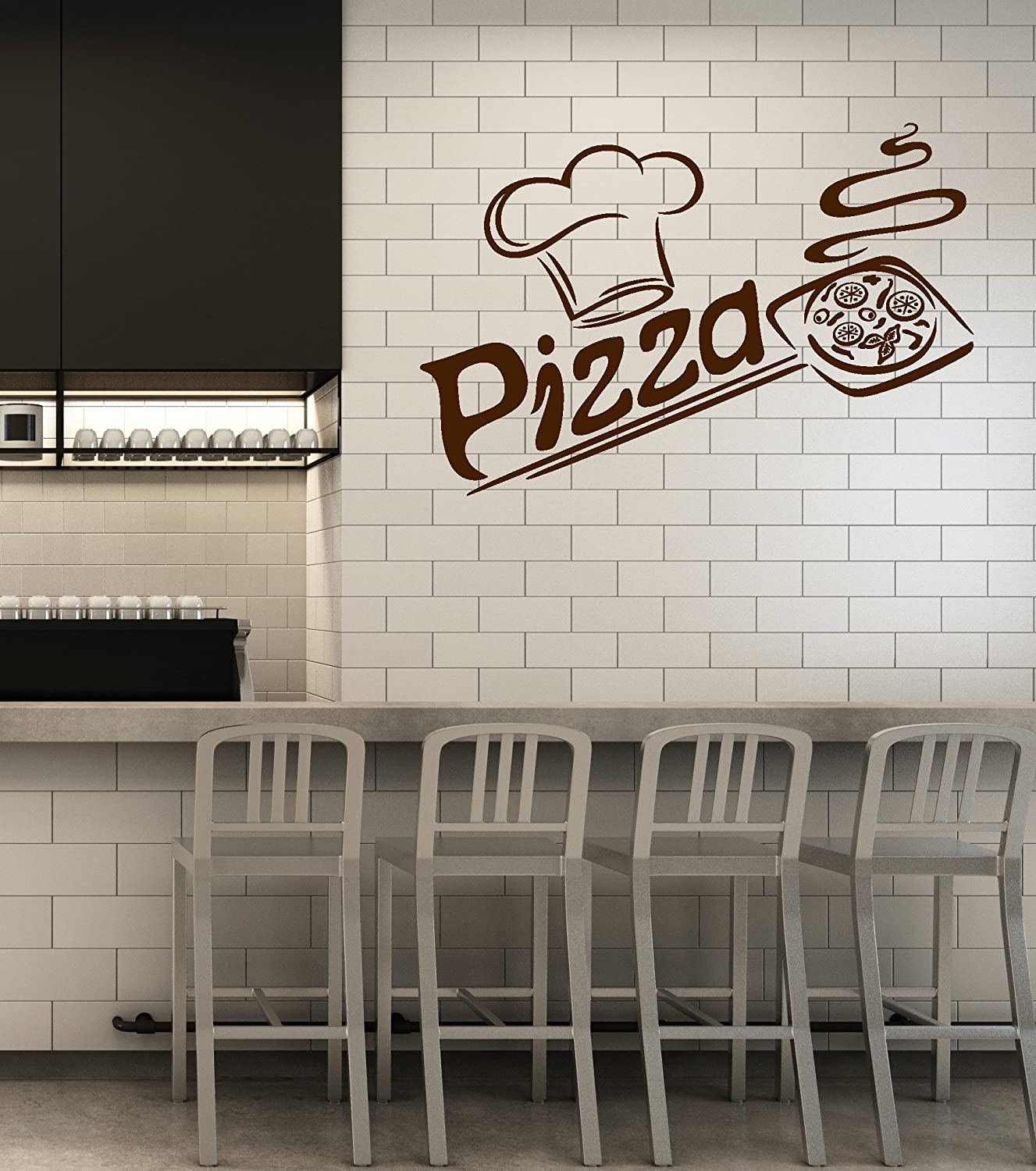 Vinyl Wall Decal Pizza Italian Restaurant Pizzeria Italy Food Kitchen Interior Stickers Mural Large Decor Ig5681