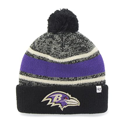 f6a1642b4896c Amazon.com   NFL Baltimore Ravens  47 Fairfax Cuff Knit Hat with Pom ...