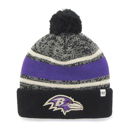 eeca6fb7 Amazon.com : NFL Baltimore Ravens '47 Fairfax Cuff Knit Hat with Pom ...