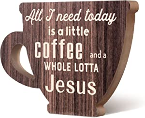 All I Need Today is a Little Coffee and a Whole Lotta Jesus Wooden Sign Coffee Station Decor Coffee Cup Wooden Decor Vintage Wood Coffee Station Decorations for Home Office Coffee Bar
