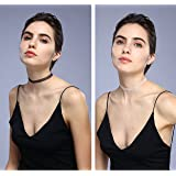 duoduodesign 2 Pieces Choker Necklace Set Stretch Classic Wedding Party Lace Choker Necklaces for Women and Girls Black and White (White and Black 30)