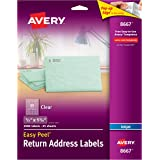 """Avery Matte Frosted Clear Return Address Labels for Inkjet Printers, 1/2"""" x 1-3/4"""", 2,000 Labels (8667)"""