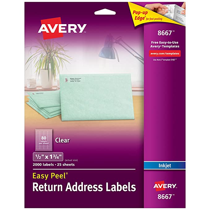 Amazon.com : Avery Matte Frosted Clear Return Address Labels for ...