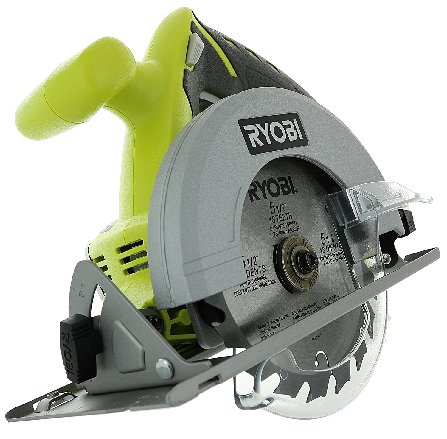 Ryobi P504G One 18 V Lithium Ion Cordless 5 1 2 Inch Circular Saw w Carbide Tip Blade Battery Not Included, Power Tool Only