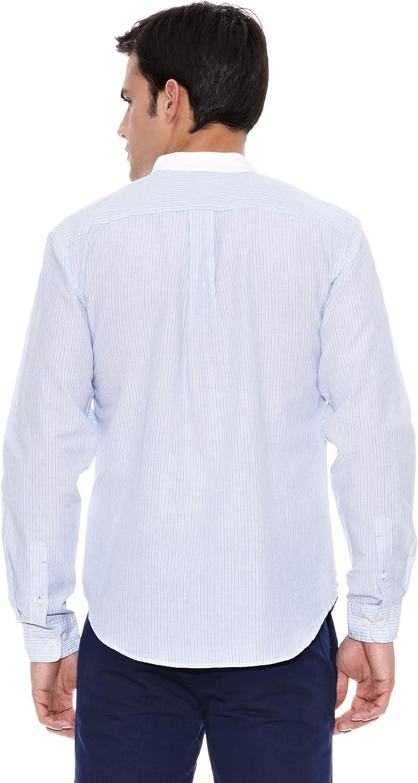 Pedro del Hierro Camisa Lino Lino F. Color Mao Azul L: Amazon.es ...