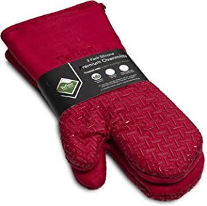 XLNT Extra Long Red Oven Mitts, Waterproof and Heat Resistant, Teflon Eco Elite Coating with Cotton Lining, Silicone Non Slip Texture, Hanging Loop, Great for Home Baker Or Commercial Chef Use