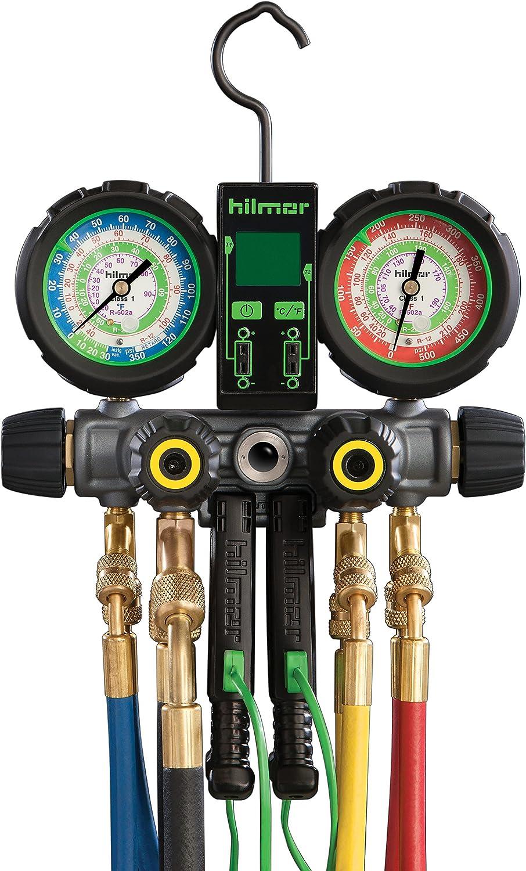 Hilmor 1839110 R410A 4-Valve Aluminum Manifold HVAC Gauge Set with Hose and Dual Readout Thermometer, Multi-Color