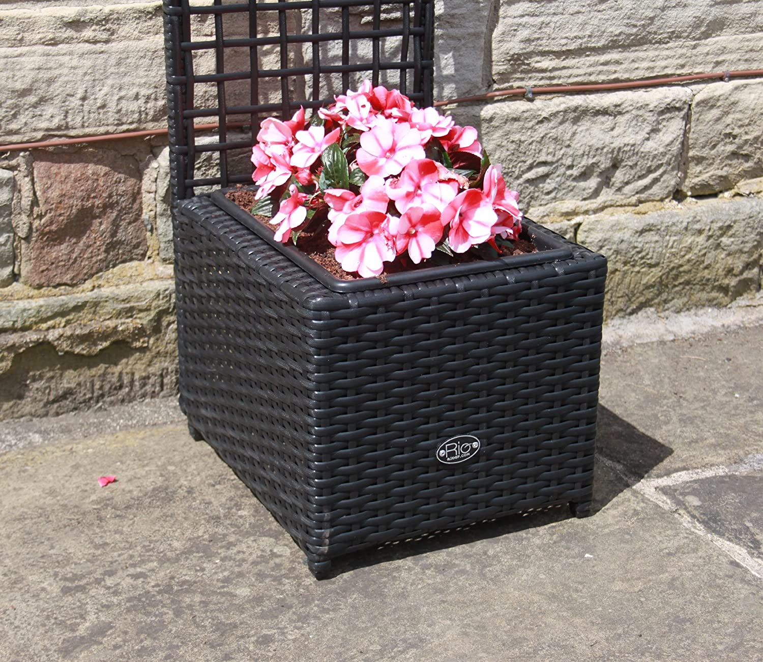 Trellises Garden & Outdoors Hand Woven PE Rattan Trellis Planter Flower Pots Outdoor Garden Furniture in Brown