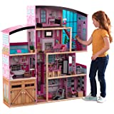 KidKraft KidKraft Shimmer Mansion Wooden Dollhouse for 12-Inch Dolls with Lights & Sounds and 30-Piece Accessories ,Gift for