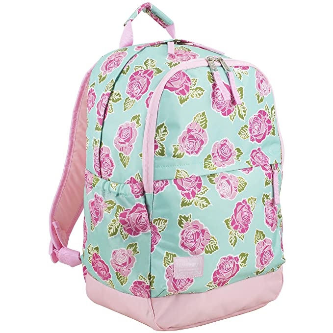 Eastsport Everyday Classic Backpack with Interior Tech Sleeve, Rose Sand/Spring Floral Print