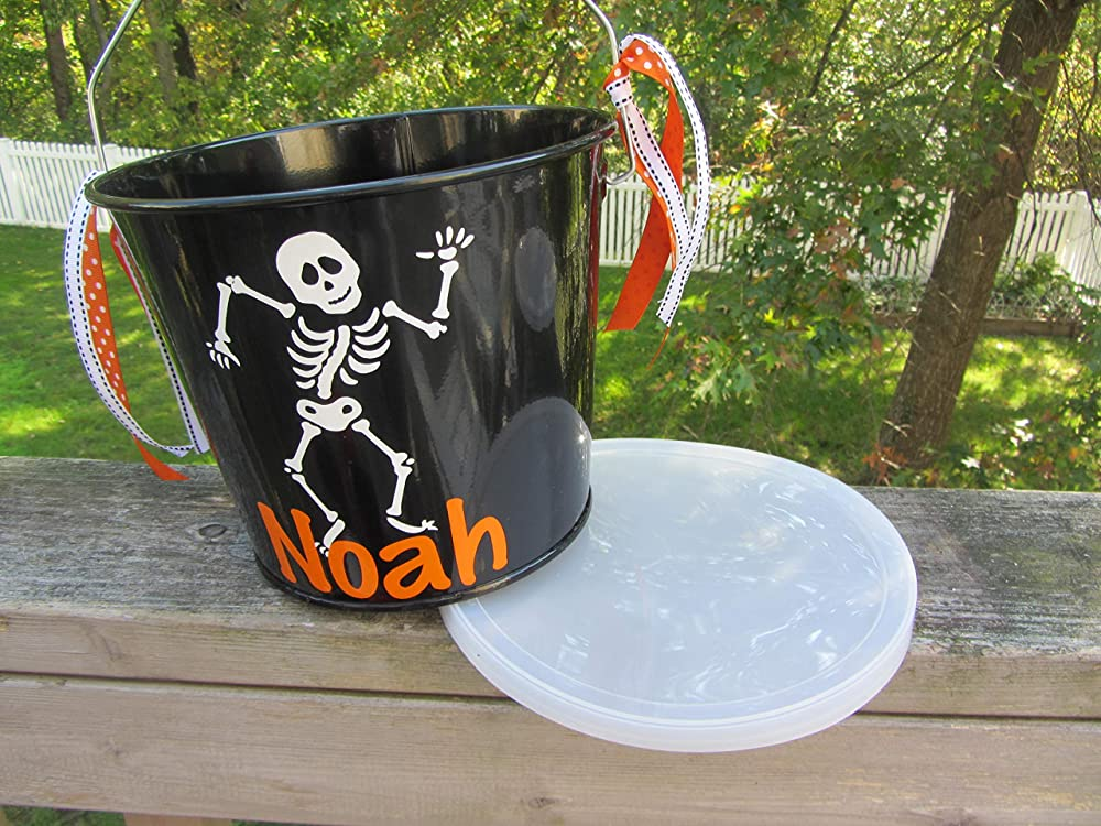 Personalized Halloween trick or treat bucket Dalmatian design to match your childs costume