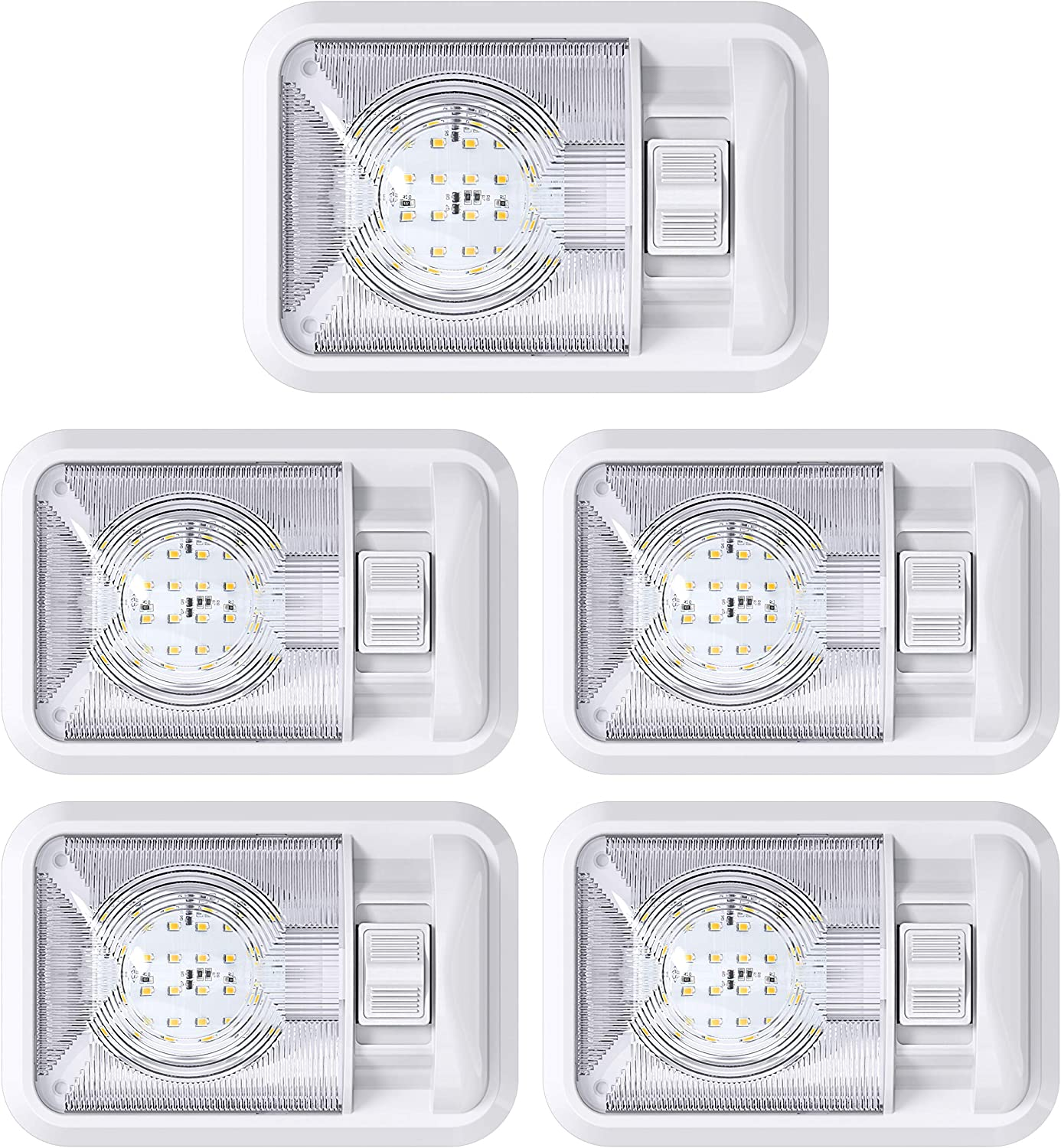 MICTUNING 12V LED RV Ceiling Double Dome Light Fixture 11.5 RV Interior Lighting with Switch for Trailer Camper Warm White, Pack of 1