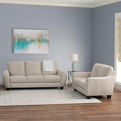 CorLiving Jazz 2pc Chenille Fabric Sofa Set Brown