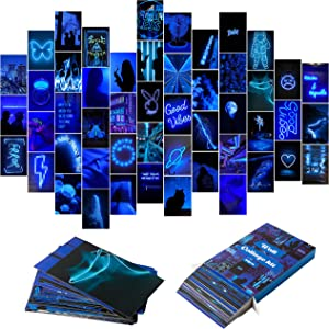YINGENIVA 50PCS Blue Neon Aesthetic Pictures Wall Collage Kit, Neon Blue Photo Collections Collage Dorm Decors for Girl Teens and Women, Trendy Wall Prints Kit, Small Posters for Room Bedroom Aesthetic