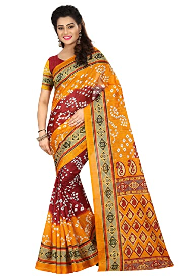 8a74f04f93 Bhanderi Brothers Women's Cotton Silk Bandhani Saree With Blouse Piece ( Yellow & Red): Amazon.in: Clothing & Accessories