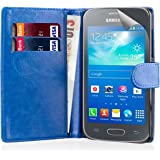 32nd® book wallet PU leather case cover for Samsung Galaxy Ace 3 (Ace III) S7270 + screen protector, cleaning cloth and touch stylus - Deep Blue
