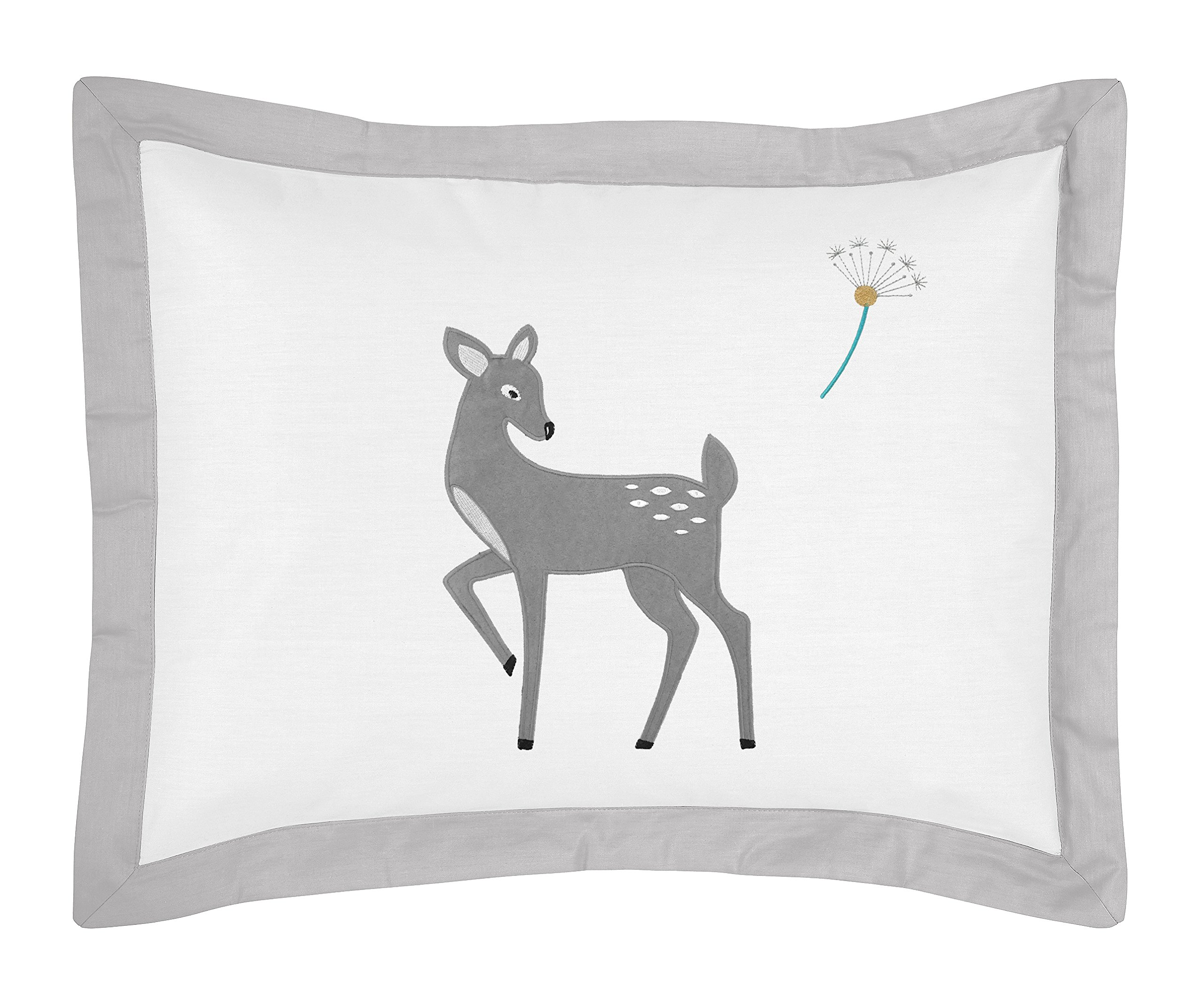 Sweet Jojo Designs Standard Pillow Sham for Girl or Boy Grey Gold and White Forest Deer and Dandelion Collection Bedding Sets