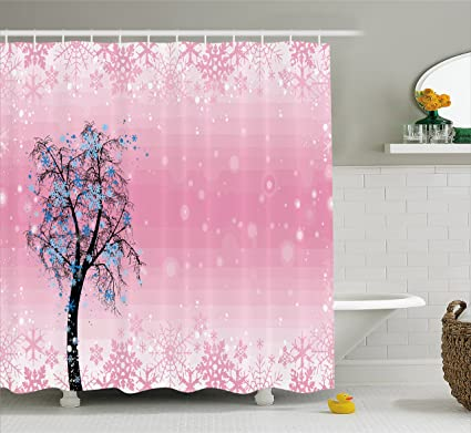 Ambesonne Light Pink Shower Curtain By Christmas Snowflakes Tree With Blue Leaves Winter Cheerful Noel