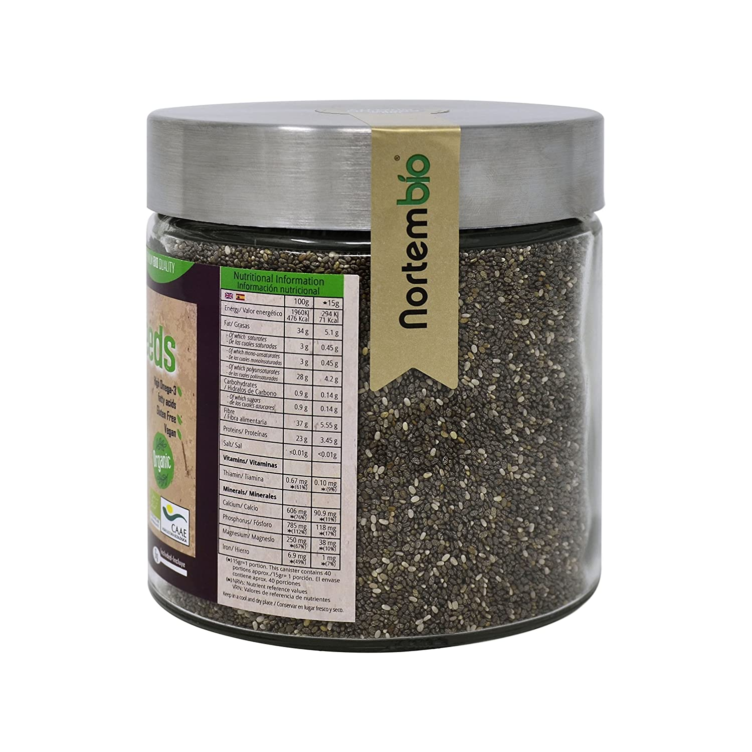 Semillas de Chia (Salvia hispanica) Natural NortemBio 600g ...