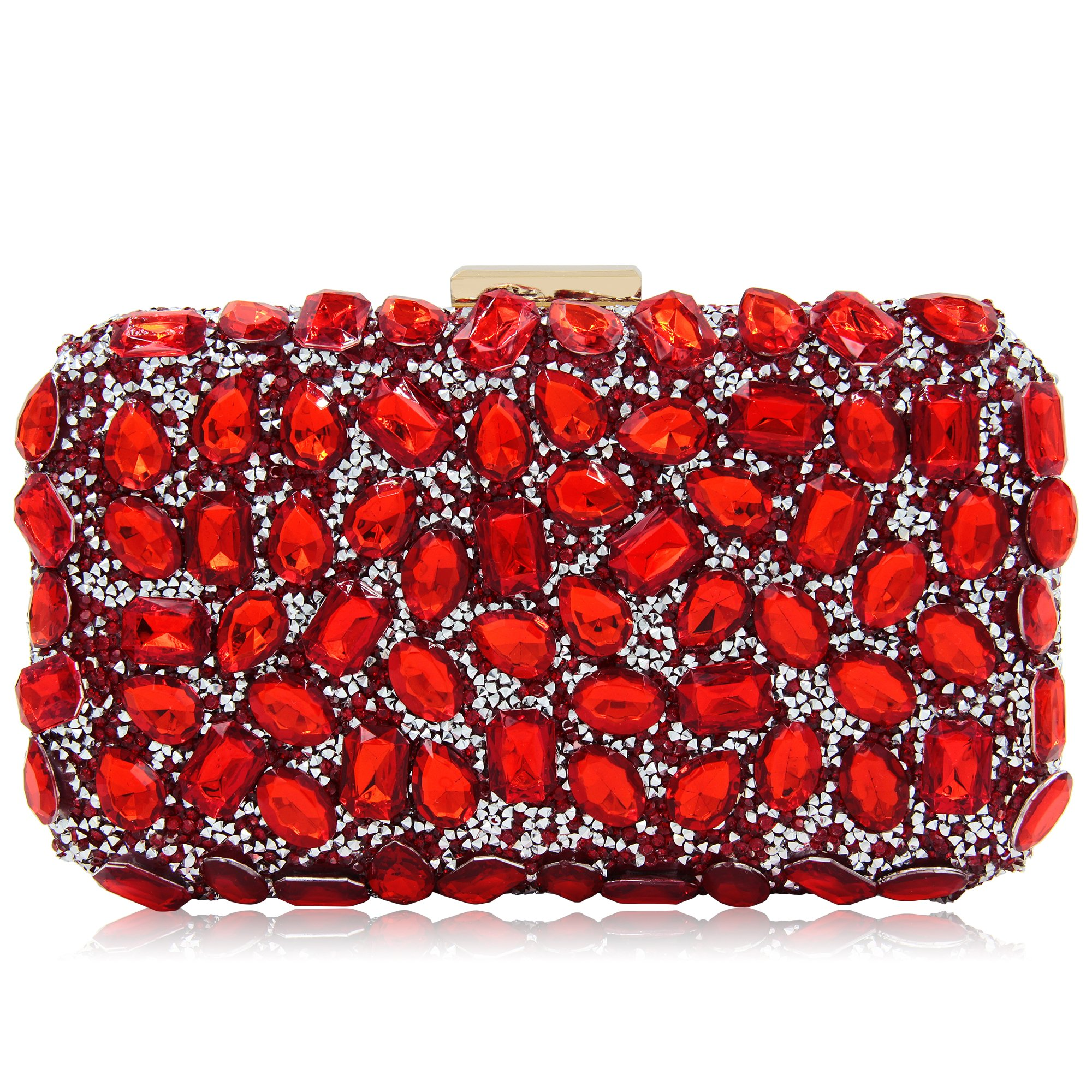 Women Clutches Rhinestone Evening Bags For Party Clutch Purse Handbag (Red 1)