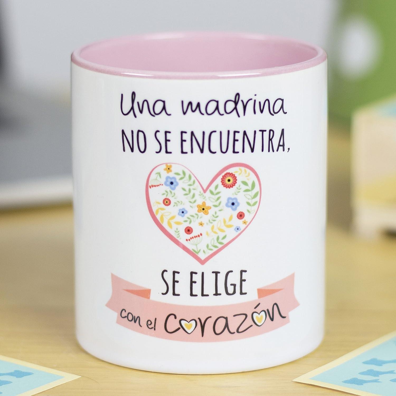 La Mente es Maravillosa - Taza con Frase y dibujo divertido (Una madrina no se encuentra, se elige con el corazón) Taza Regalo Madrina