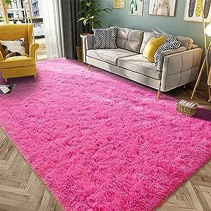 HQAYW Modern Fluffy Area Rug, Shaggy Rugs for Bedroom Living Room Ultra Soft Shag Fur Carpets for Kids Girls Nursery Plush Fuzzy Rug Cute Home Decor Rug, 4' x 6', Hot Pink