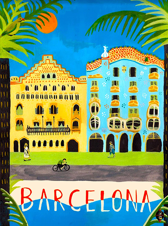 Amazon.com: Barcelona Spain Spanish European Europe Vintage Travel ...