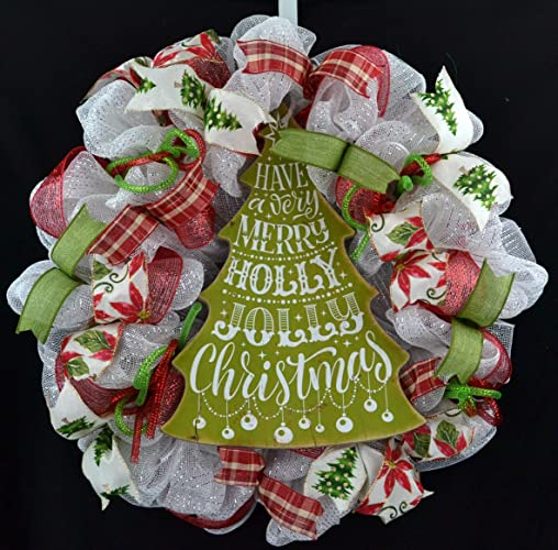 Amazoncom White Christmas Wreath Christmas Door Wreath Red