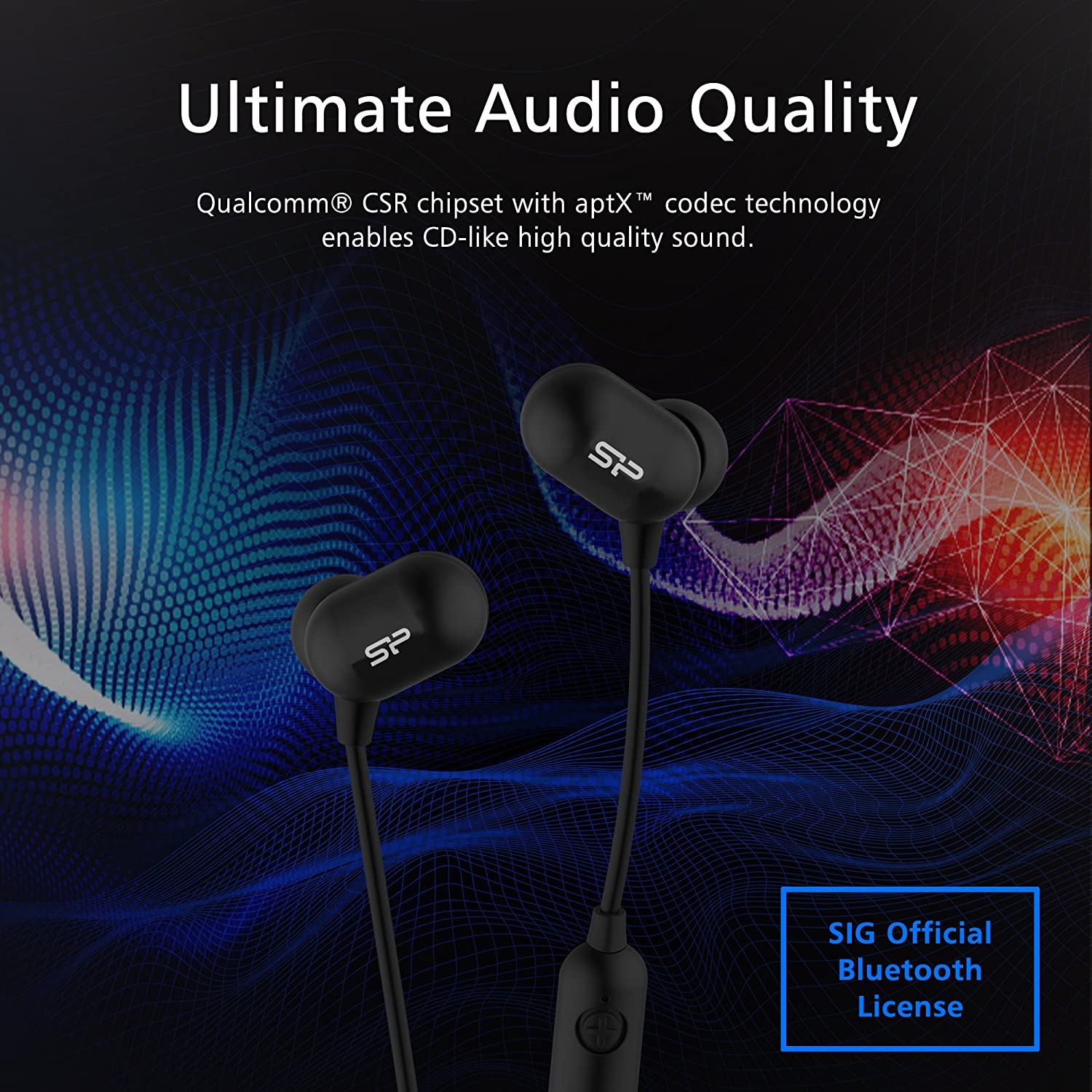 aptX Stereo Headset with Warm Bass Response Silicon Power SU3MWASYBP61BT0KAE Bluetooth 4.1 In Ear Headphones up to 8 Hour Play Time, Noise Cancelling IP64 Sweat proof In Ear Wireless Earbuds with Mic
