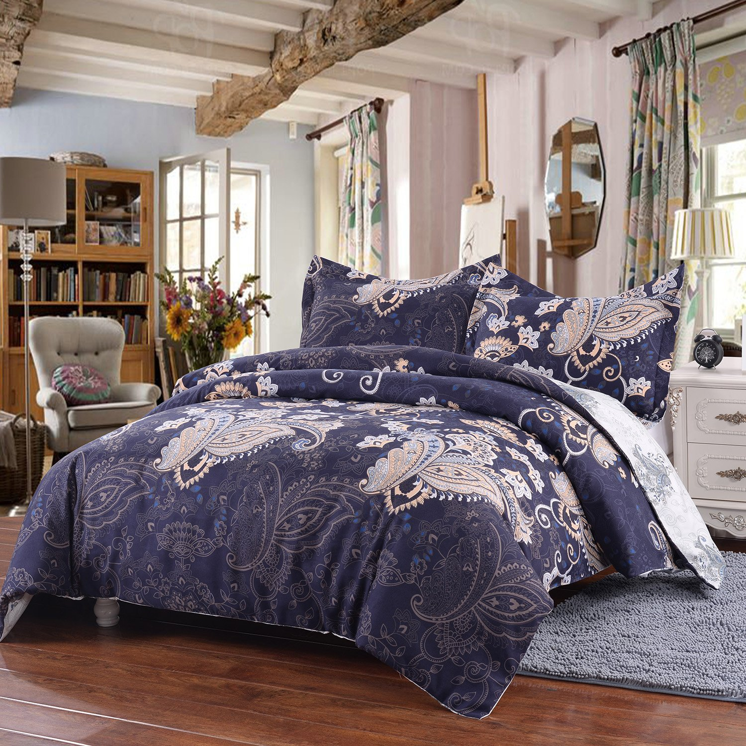 Simple&Opulence Microfiber 3 Piece Navy Palace Peacock Pattern Bedding Floral Duvet Cover Set (King
