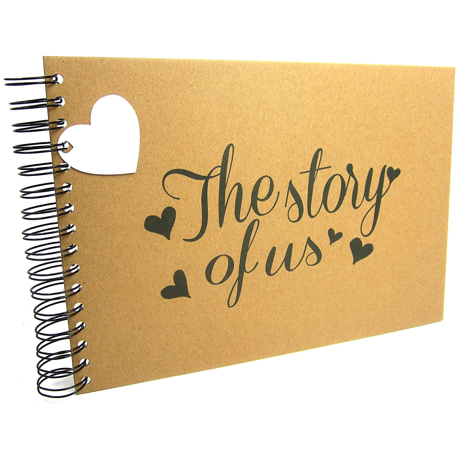 A5 A4 The Story of Us, Scrapbook, Card Pages, Photo Album, Keepsake, Landscape (A4 (Black Pages)) Scrapbook Wonderland