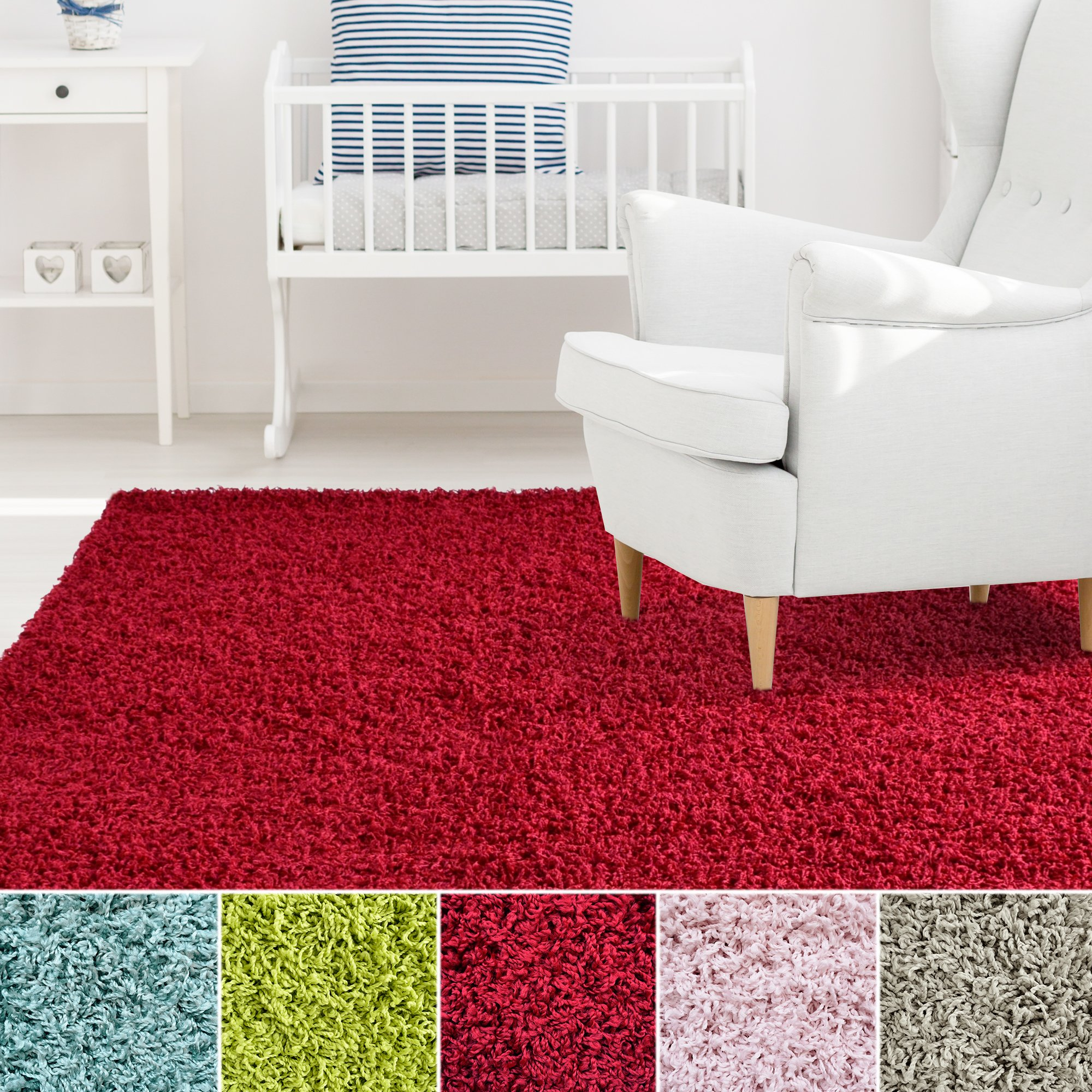 iCustomRug Affordable Shaggy Rug Dixie Cozy & Soft Kids Shag Area Rug Solid Color Red, For Children's Play Area, Bedroom or Nursery Carpet 6 Feet x 9 Feet (6' x 9')