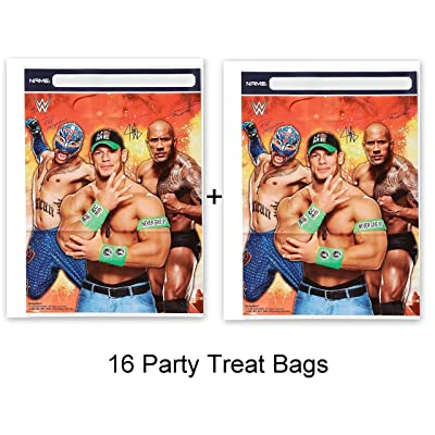HALL WWE Wrestling Bash Cena Party Loots Treat Bags Birthday Party Supplies (16-Pieces): Toys & Games