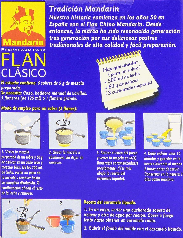 Mandarín - Preparado para flan clásico - Añada usted el azúcar - 5 sobres: Amazon.es: Alimentación y bebidas