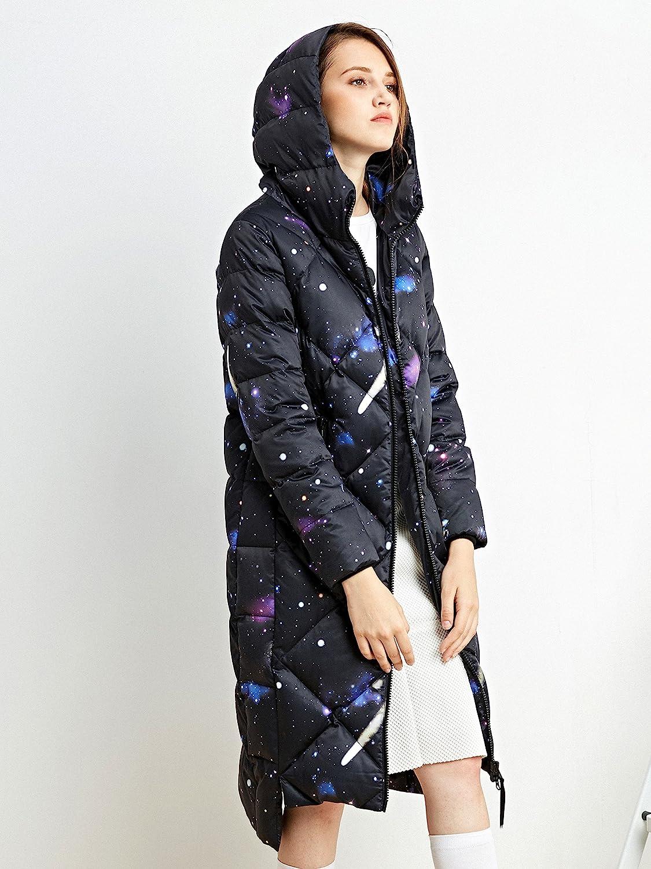 Abrigo Largo Bosideng Abrigo Acolchado con Forma de Diamante para Mujer Capucha y pu/ños c/álidos con Orificio para el Pulgar Reforzado