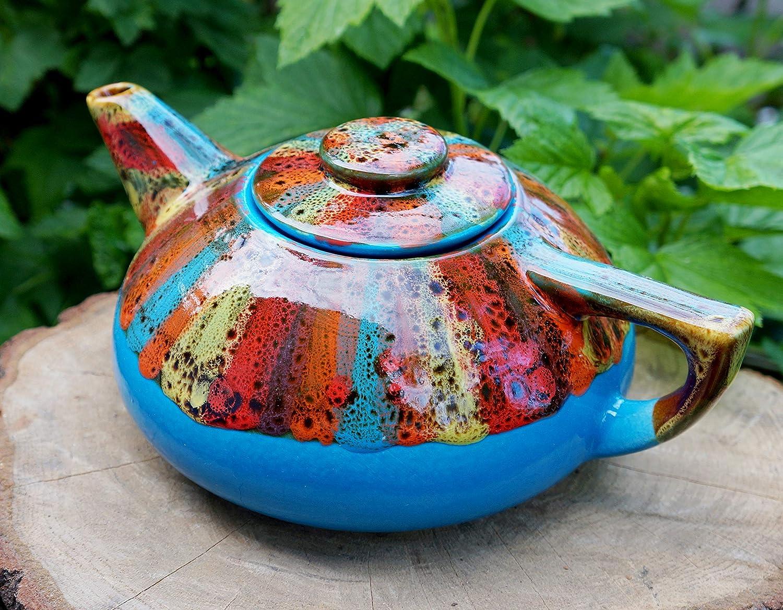 Blue ceramic teapot 33.8 oz Bright gift for friends couples Handmade pottery rainbow tea pot