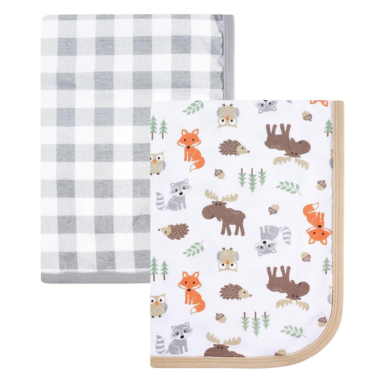 Hudson Baby Unisex Baby Cotton Blankets, Woodland 2-Pack, One Size