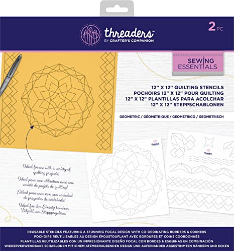 crafters companion threaders 12 x 12 quilting pattern stencils geometric us one size white