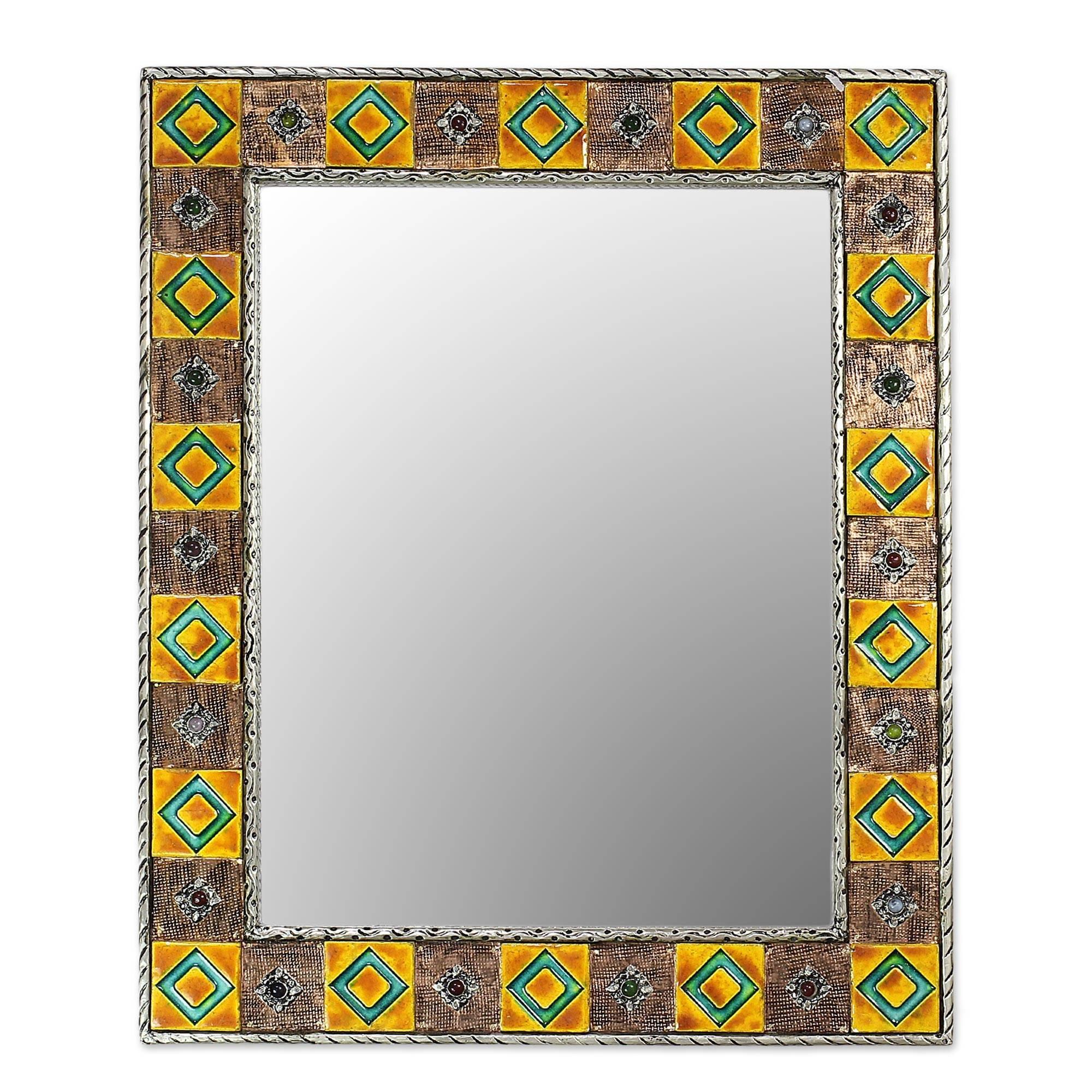 NOVICA Hollywood Glam Wood Wall Mounted Mirror, Earthtone, 'Autumn Warmth'