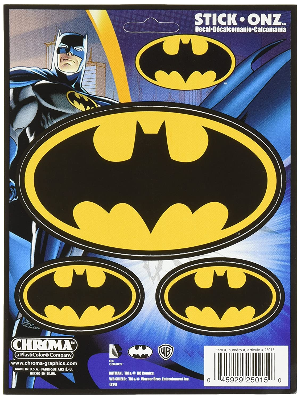 Chroma Black and Gold 25015 Batman Logo 3pc Stick Onz Decal