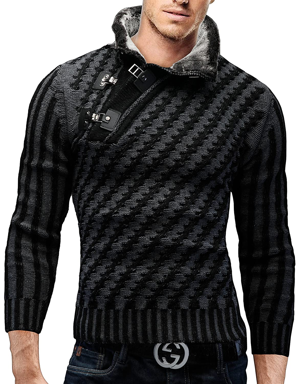 Merish Maglione lavorato a maglia uomo, con collo a scialle,con fibbia decorativa Slim Fit, collo a scialle con utilizzo della pelliccia, vari colori, Sweatshirt 8030