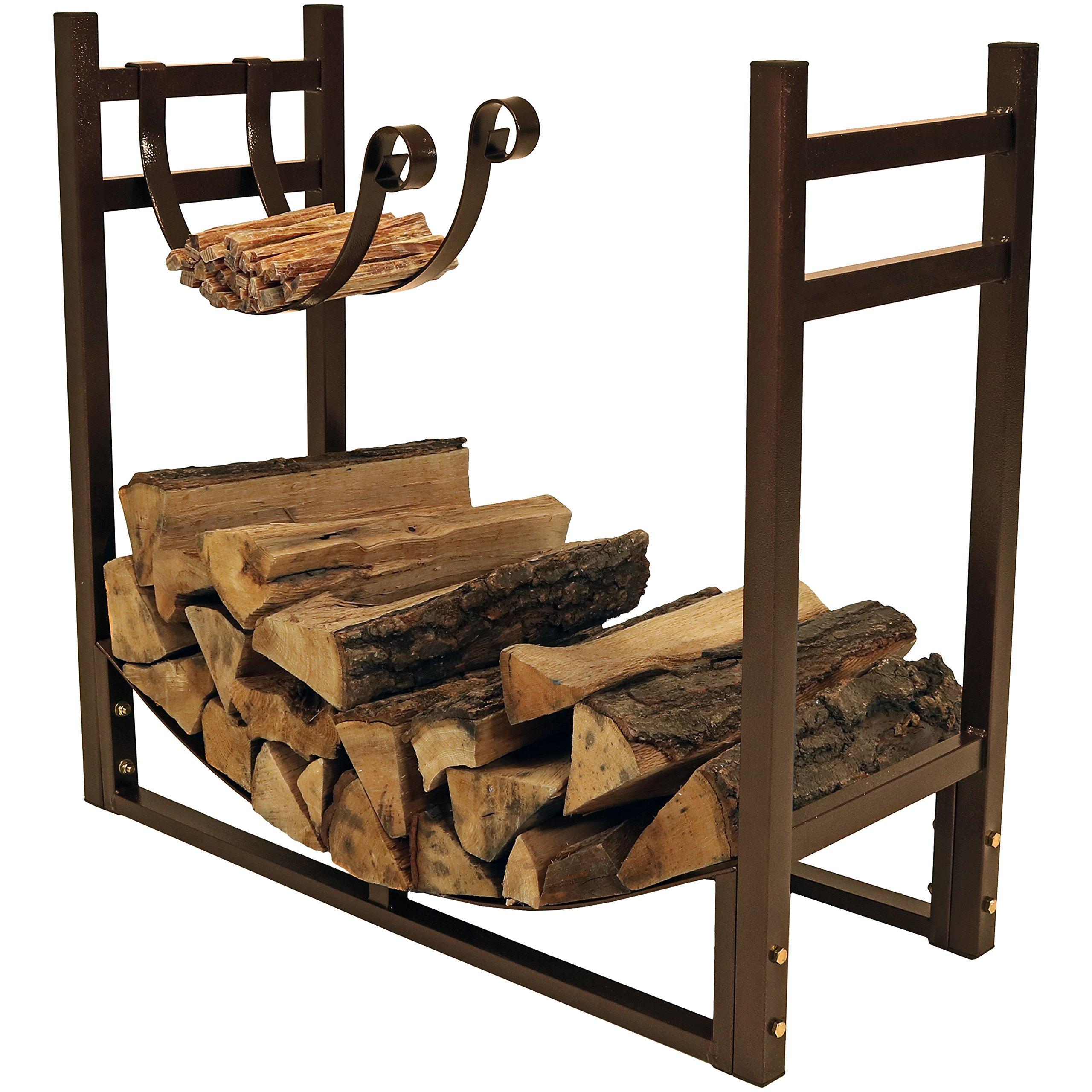 Sunnydaze Firewood Rack with Kindling Holder - Indoor or Outdoor Fireplace Log Rack Firewood Holder for Wood Storage - 33 Inch Wide x 30 Inch Tall, Bronze by Sunnydaze Decor