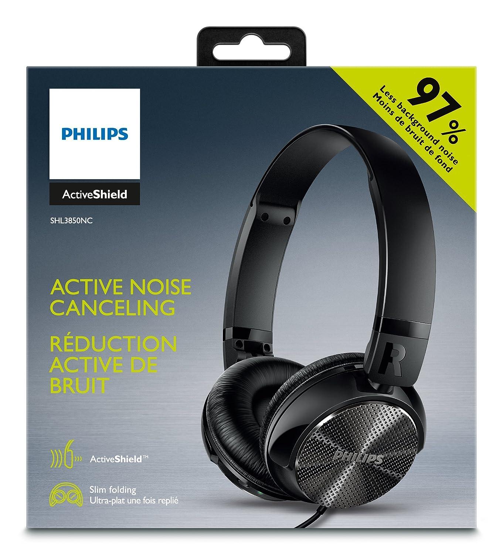 Philips SHB3850NC - Auriculares con reducción de ruido (altavoces de 32 mm, plegado compacto), negro: Amazon.es: Electrónica