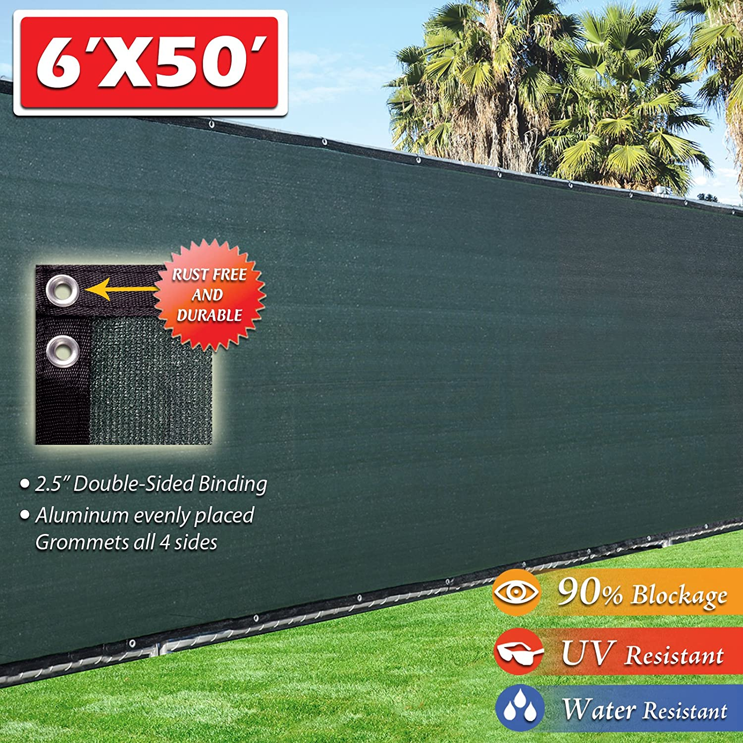 Fence4ever 6' x 50' 3rd Gen Olive Dark Green Fence Privacy Screen Windscreen Shade Fabric Mesh Netting Tarp (Aluminum Grommets) VC0S2_F4E-G650FS-A-88