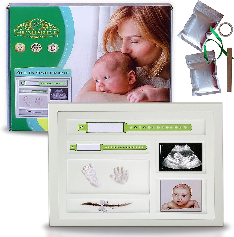 Marco de huellas de bebé | Kit de Marco Para Manos y Huellas de bebé para niño y niña | marcos de arcilla y madera | baby shower