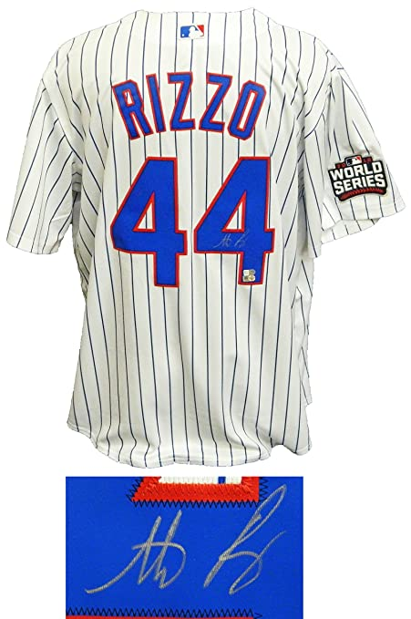 more photos 1f5b1 cbcb5 Anthony Rizzo Signed Chicago Cubs White Pinstripe 2016 World ...