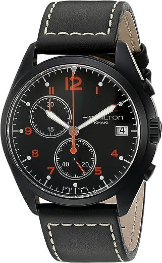 ساعة هاميلتون بايلوت بيونير للرجال مينا وبسوار جلدي اسود - H76582733